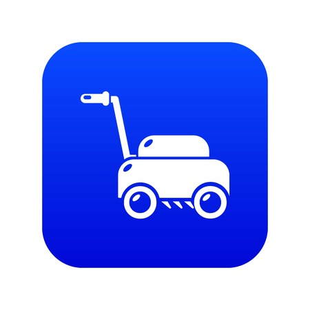 Lawn mower machine icon blue vector isolated on white background