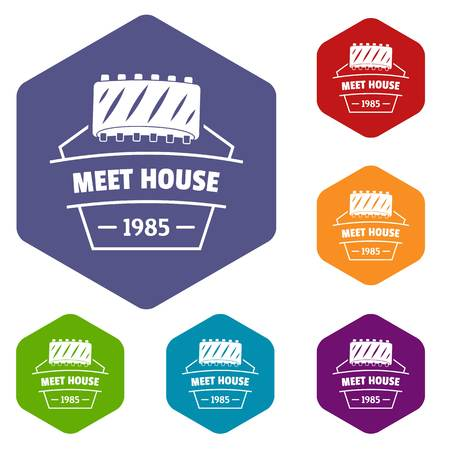 Meat house icons vector hexahedron