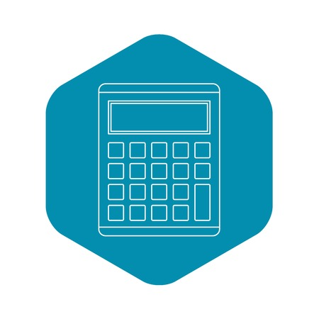 Calculator icon. Outline illustration of calculator vector icon for web
