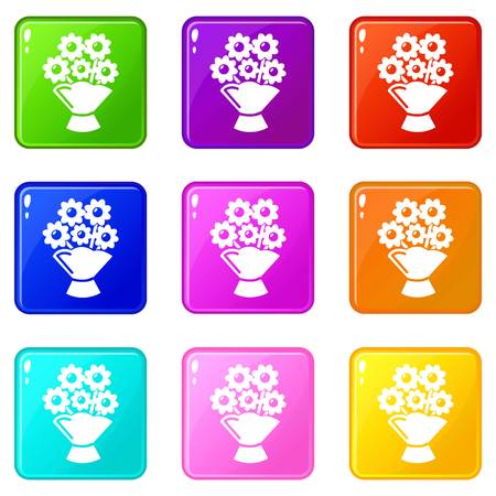 Wedding flower bucket icons set 9 color collection isolated on white for any design