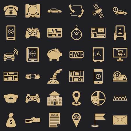 Telephone icons set, simple style