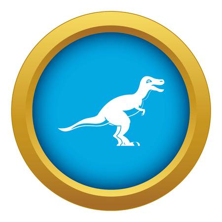 Theropod dinosaur icon blue vector isolated Illustration