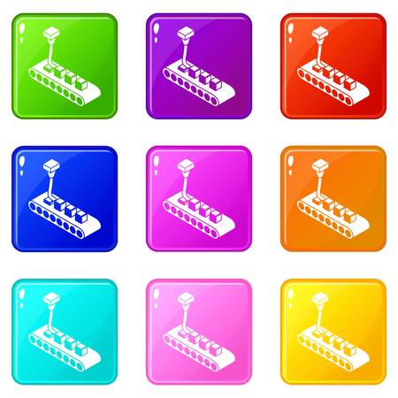Cube d printing icons set 9 color collection isolated on white for any design 矢量图像