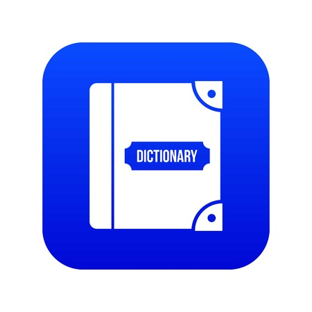 English dictionary icon digital blue