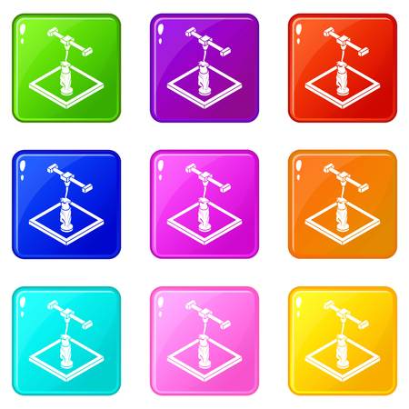 Statue d printing icons set 9 color collection isolated on white for any design Illustration
