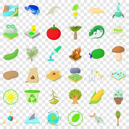 Nature biology icons set, cartoon style Reklamní fotografie - 121234751