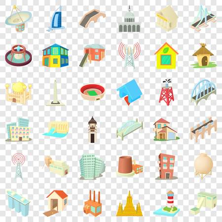 Big building icons set, cartoon style