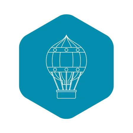 Hot air balloon with gondola basket icon. Outline illustration of hot air balloon with gondola basket vector icon for web 일러스트