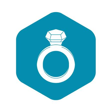 Ring with gemstone icon, simple style