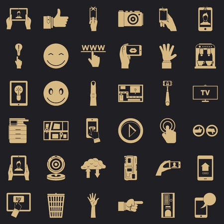 Gadget icons set. Simple style of 36 gadget vector icons for web for any design Illusztráció