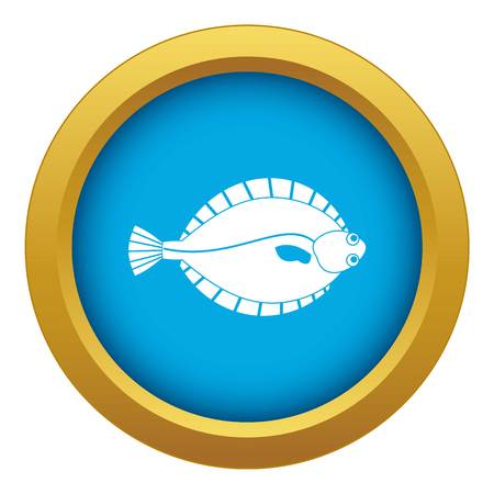 Flounder icon blue vector isolated on white background for any design