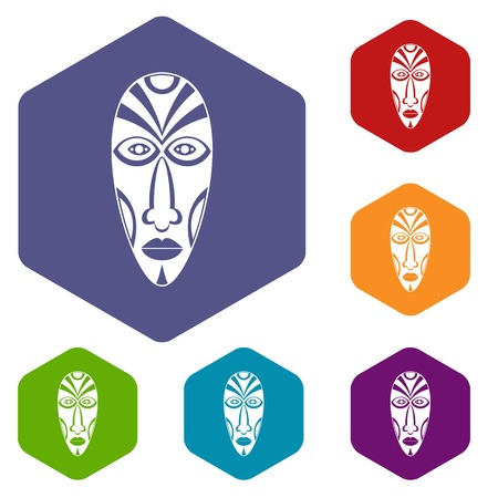 African mask icons vector hexahedron