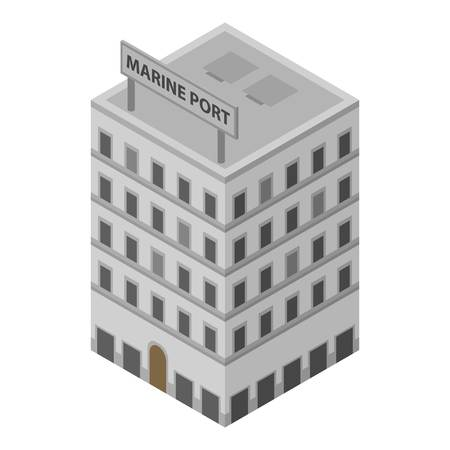 Marine port building icon. Isometric of marine port building vector icon for web design isolated on white background