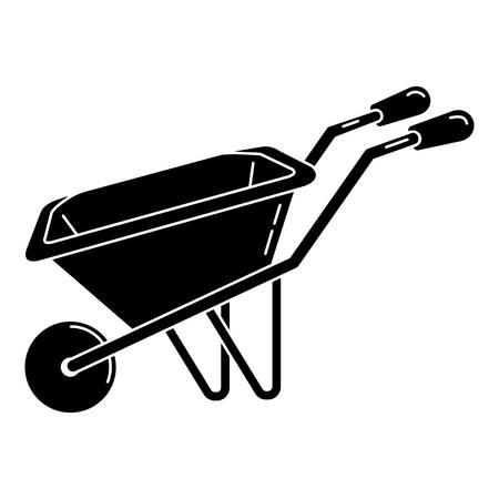 Wheelbarrow icon, simple style
