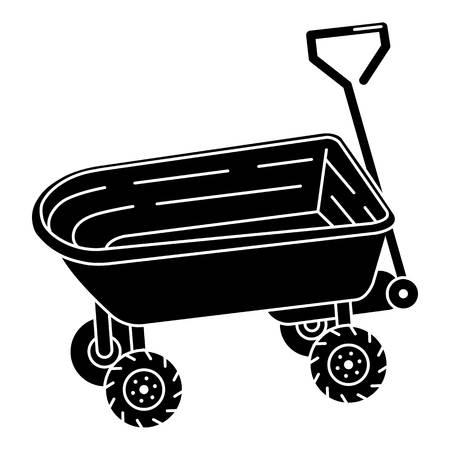 Toy wheelbarrow icon. Simple illustration of toy wheelbarrow vector icon for web design isolated on white background