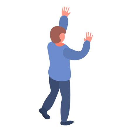 Man hands up icon. Isometric of man hands up vector icon for web design isolated on white background