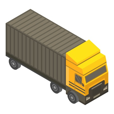 Cargo truck icon. Isometric of cargo truck vector icon for web design isolated on white background