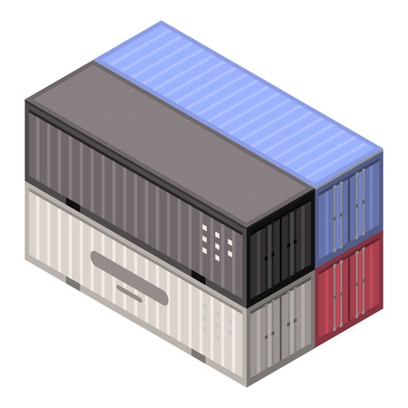 Stack port container icon. Isometric of stack port container vector icon for web design isolated on white background