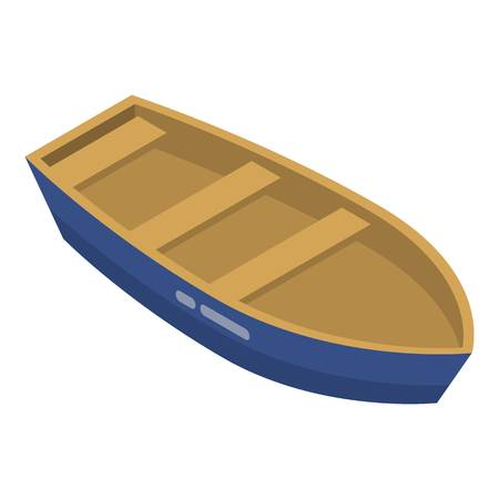 Wood boat icon. Isometric of wood boat vector icon for web design isolated on white background