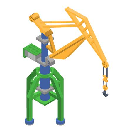Port crane icon, isometric style Illustration