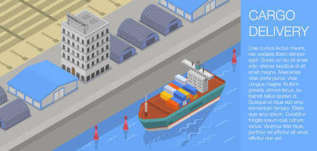 Cargo delivery concept banner. Isometric illustration of cargo delivery vector concept banner for web design