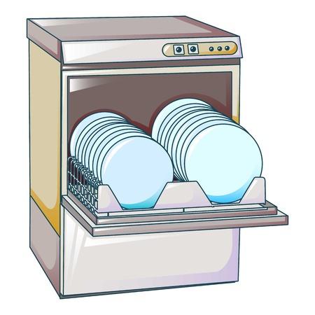 Icono de máquina de lavavajillas de cocina, estilo de dibujos animados Ilustración de vector