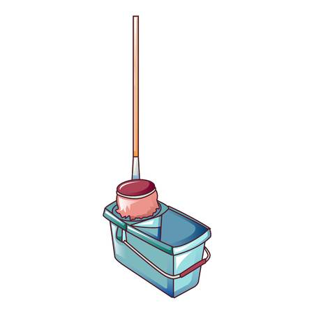Mop in bucket icon. Cartoon of mop in bucket vector icon for web design isolated on white background Illustration