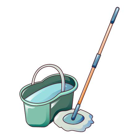 Water bucket mop icon. Cartoon of water bucket mop vector icon for web design isolated on white background Illustration