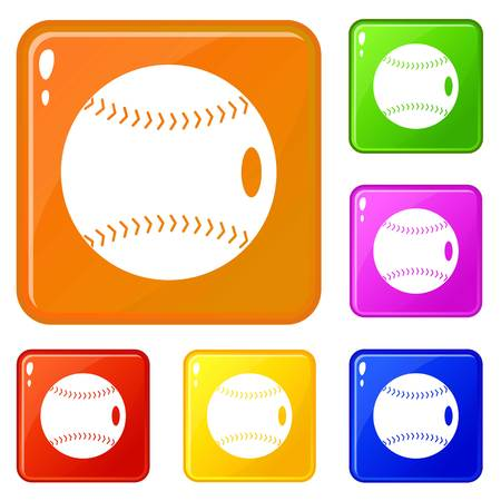 Baseball ball icons set collection vector 6 color isolated on white background