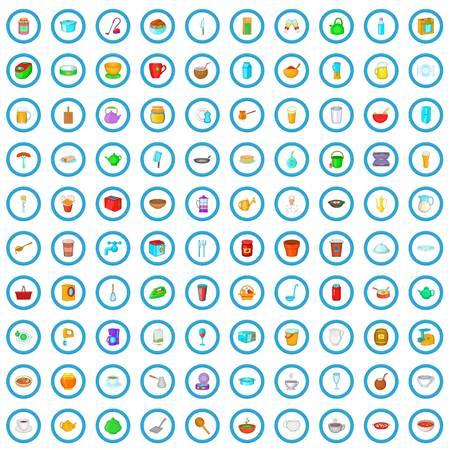 100 utensil icons set in cartoon style for any design vector illustration Stock Illustratie