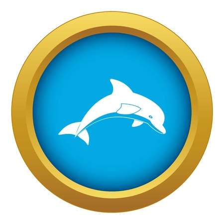 Jumping dolphin icon blue vector isolated on white background for any design