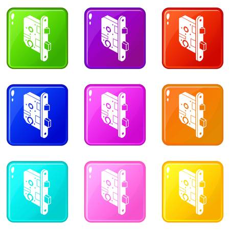 Standard door lock icons set 9 color collection