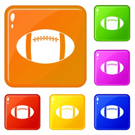 Rugby ball icons set collection vector 6 color isolated on white background