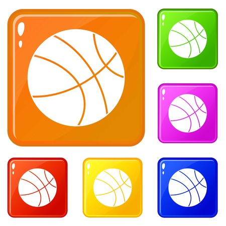 Basketball ball icons set collection vector 6 color isolated on white background