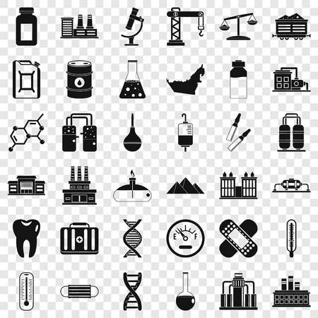Chemical factory icons set. Simple style of 36 chemical factory vector icons for web for any design