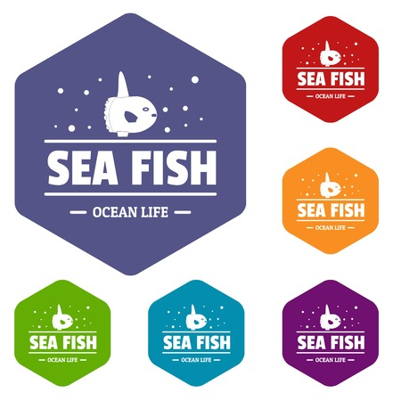Sea market icons vector hexahedron