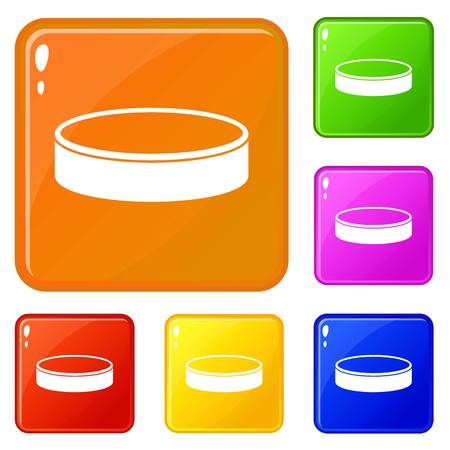 Puck icons set collection vector 6 color isolated on white background Illustration