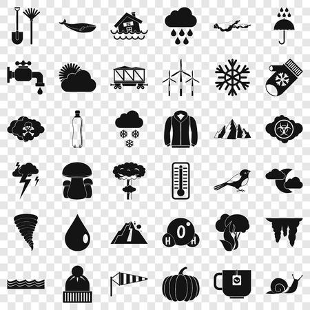 Rainy cloud icons set, simple style