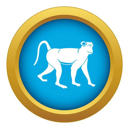 Monkey icon blue vector isolated on white background for any design