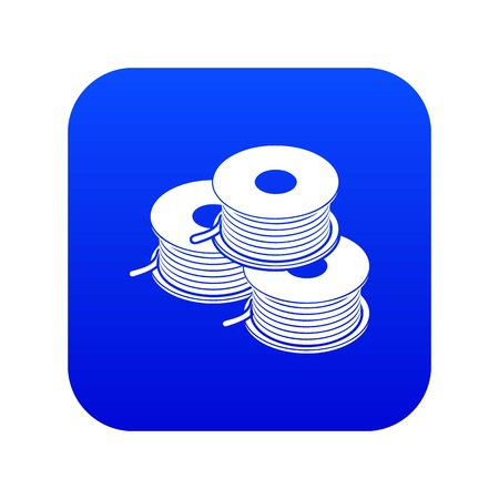 Coil for d printer icon blue vector