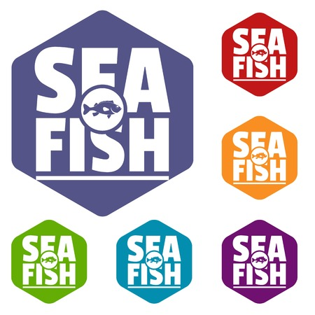 Sea fish shop icons vector colorful hexahedron set collection isolated on white