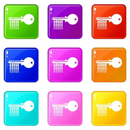 Magnetic key icons set 9 color collection  イラスト・ベクター素材