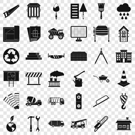 Construction of house icons set, simple style