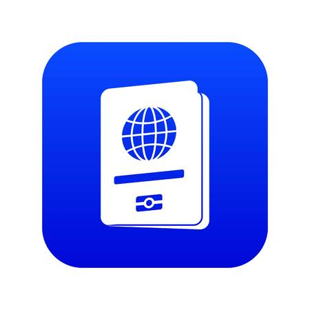 Passport icon digital blue for any design isolated on white vector illustration