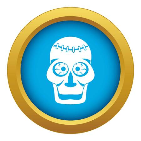 Skull icon blue vector isolated on white background for any design
