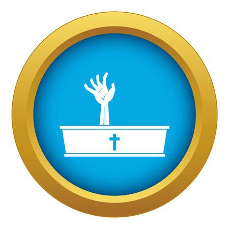 Zombie hand coming out of his coffin icon blue vector isolated
