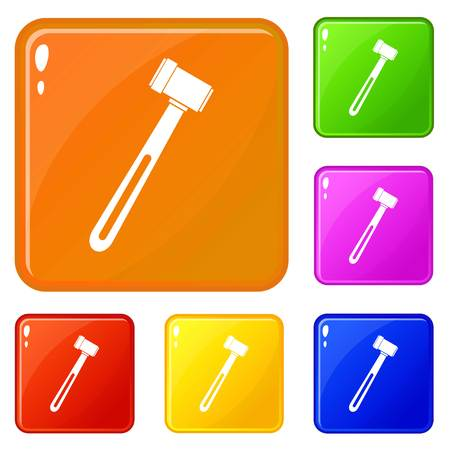 Medical hammer icons set collection vector 6 color isolated on white background Vettoriali
