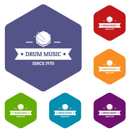 Drum music icons vector hexahedron Illustration