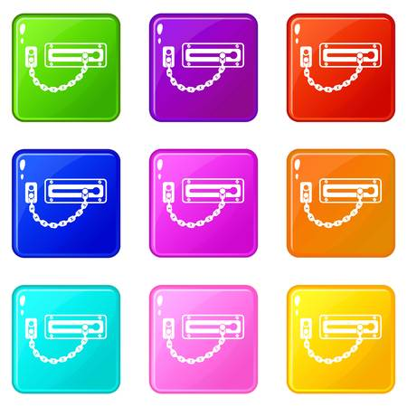 Door latch icons set 9 color collection