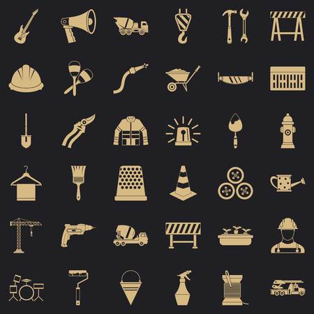 Hammer Icons Set, einfacher Stil